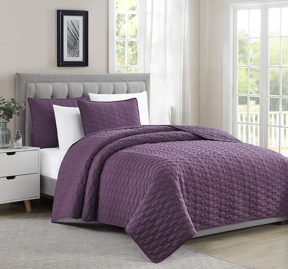 BOURINA Quilt Coverlet Set Miami Mall 3-Piece Se Limited price Embroidery Bedspread