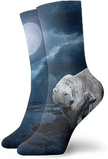 WEEDKEYCAT Polar Bear at Night Adult Short Socks Cotton Cozy Socks for Mens Womens Yoga Hiking Cycling Running Soccer Sports
