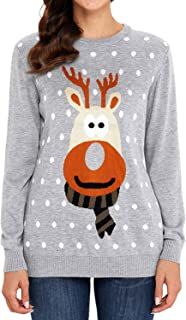 Futurino Women's Plus Size Cute Ugly Reindeer Christmas Printed Pullover Sweater