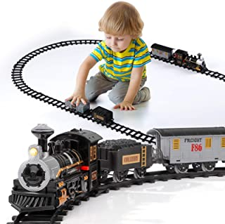 Lucky Doug Electric Train Set for Kids, Battery-Powered Train Toys with Sounds Include 4 Cars and 10 Tracks, Classic Toy T...