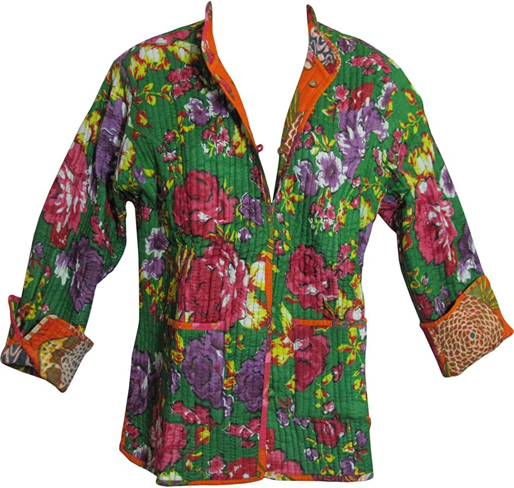 Reversible Missy Floral Quilted Cotton Outerwear Jacket Cardigan Blouse JK No12