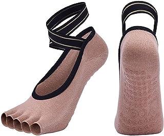 DFKE, Calcetines de yoga de cinco dedo dedo del pie transpirable Pilates sin dedos calcetines antideslizantes Silicone Sport Ballet Sock (Color : Beige S, Size : EUR 35 40 US 4.5 8.5)