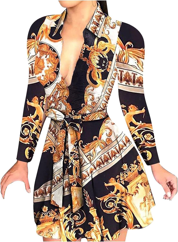 FQZWONG Sexy Dress for Women Deep V-Neck Floral Printed Long Sleeve Tie Waist Slim Club Night Out Ruffle Mini Shirt Dress