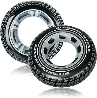 com-four® 2X Flotador Inflable con Diseño de Neumático: Flotador de Piscina para Niños y Adultos [la Selección Varía] (neumatico de Coche)