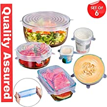 Wazdorf Set of 6 Reusable Safety Silicone Stretch Dishwasher Microwave and Freezer Safe Lids Flexible Covers for Rectangle Round Square - Bowls Dishes Plates Cans Jars Glassware and Mugs