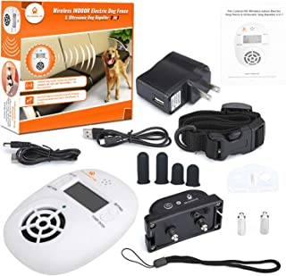 Pet Control HQ | Indoor Dog Wireless Electric Fence Pet Barrier Containment System for Dogs Universal Shock Collar for Pets Deterrent Radio Device in 1