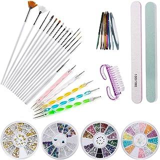 Czemo Kit de Accesorios Decoración Uñas Nail Art, 15pcs Pinceles para Uñas, 10pcs Rollos de Cintas Adhesivas Uñas, 5pcs de Lápiz de Punto, 4 Cajas de Diamantes de Uñas