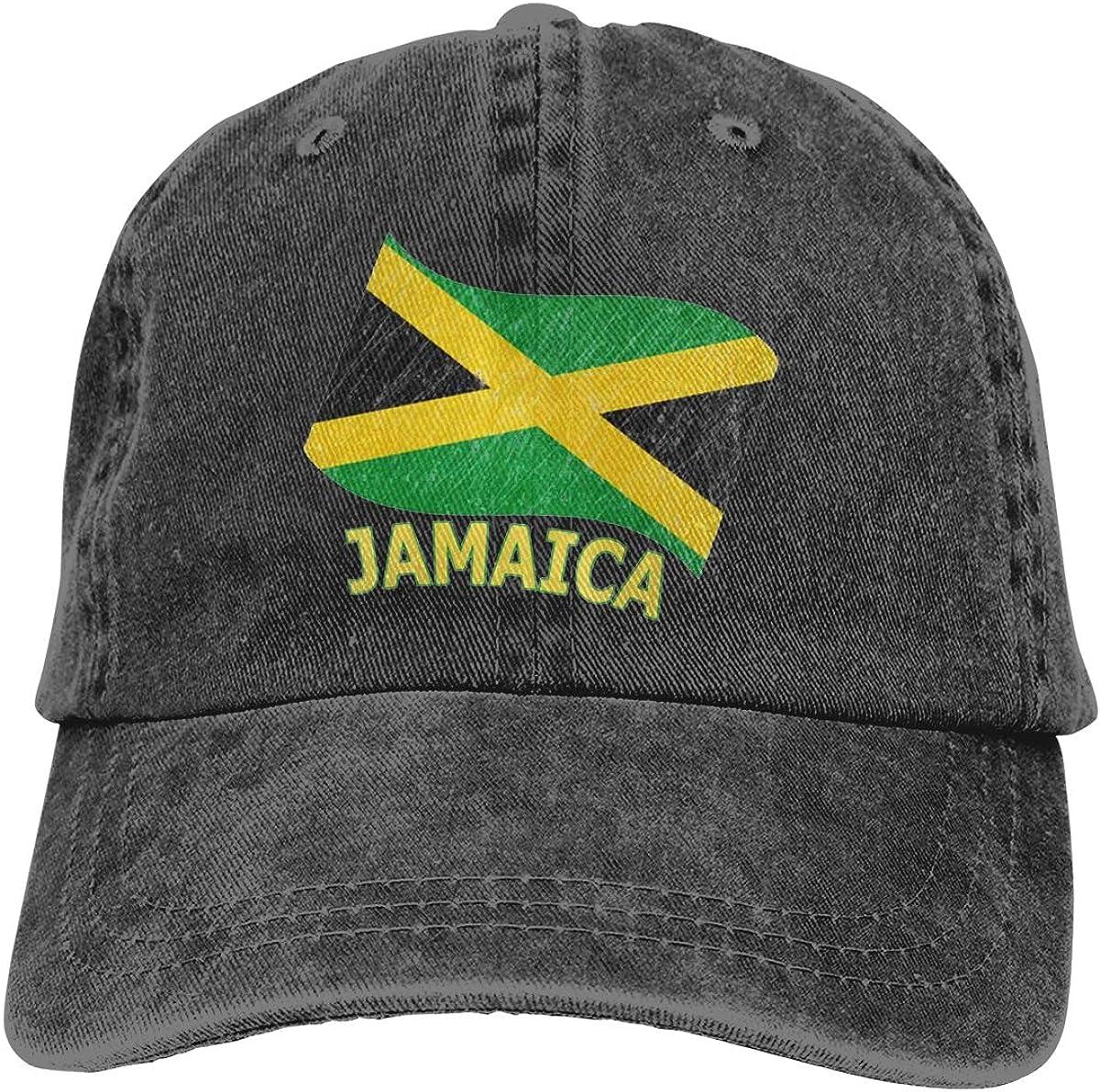 FEAIYEA Denim Cap Retro Wave Jamaican Flag Jamaican Pride Baseball Dad Cap Adjustable Classic Sports for Men Women Hat