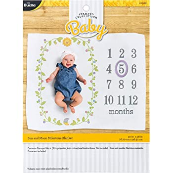 Herrschners Pre-Quilted Grow with Me Baby Quilt Kit Stamped Cross-Stitch Kit