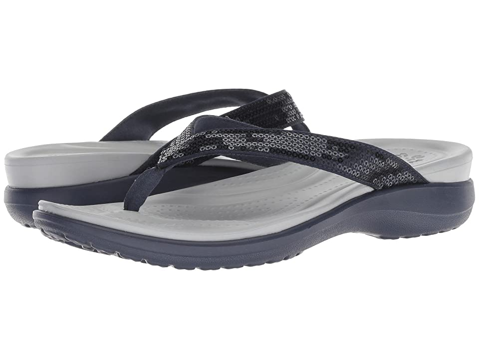 Crocs Capri V Sequin (Navy/Light Grey) Women's Sandals