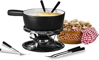 Artestia fondue pot,Cast Iron Fondue Set,Cheese Fondue Sets - Includes Ceramic Pots,Six Fondue Forks Premium Porcelain Mel...