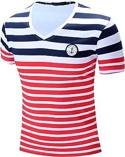 Muzboo Camiseta de manga corta para hombre, con diseño de rayas horizontales y cuello en V