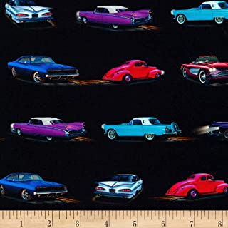 Robert Kaufman On The Road Cars Retro Fabric Fabric by the Yard