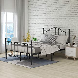 Metal Queen Bed Frame Platform Bed Vintage Tokyo Classic Design with Headboard Footboard No Box Spring Premium Steel Slat Mattress Foundation Black