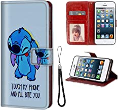 DISNEY COLLECTION Wallet Case with Card Holder Fits for iPhone 5 or SE or 5S 5.5-Inch Stitch Themes Dont Touch My Phone Magnetic Clasp
