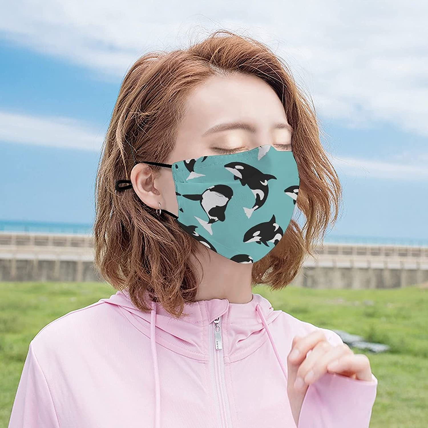 Whale Face Mask Fish Ocean Mask Outdoor Dustproof Adjustable Breathable Balaclava for Women Men Youth with 2 Filter