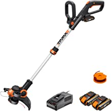 WORX 20V Cordless Grass Trimmer WG163E.3 with Fast Charger, 2 x 2,0Ah Batteries, PowerShare, 2-in-1 Grass Trimmer/Edger, 9...