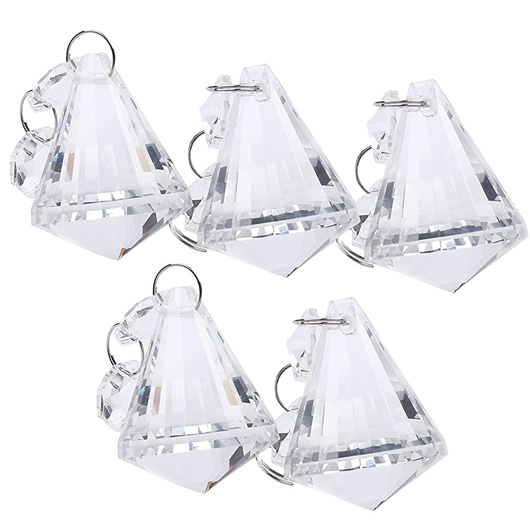 BIHRTC Pack of 5 Clear Crystal Chandelier Lamp Lighting Part Drops Pendants Balls Prisms Hanging Galss Crystal Pendant Home/House Decor