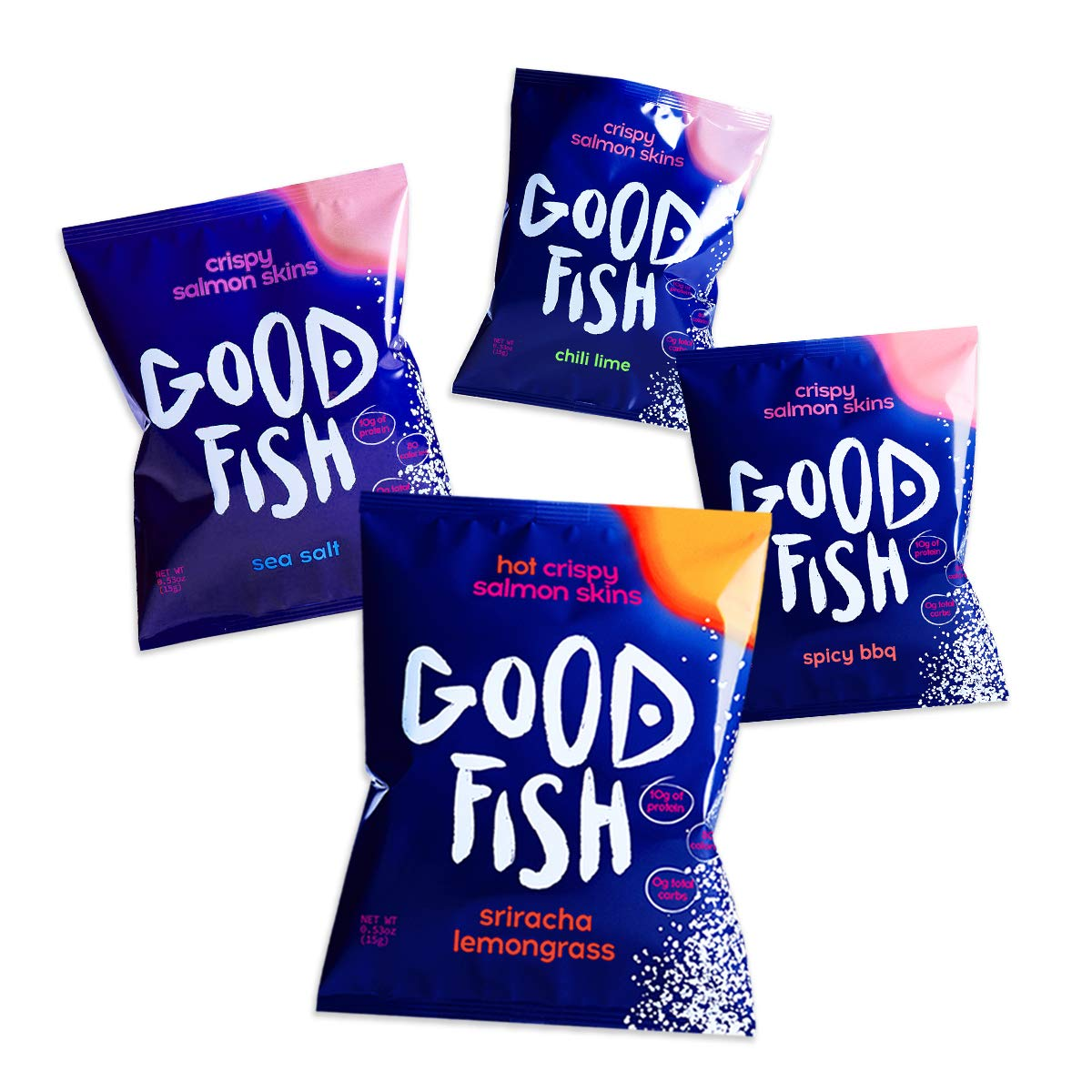 GOODFISH Crispy Salmon Skin Chips - Hot Variety Pack (Pack of 8)