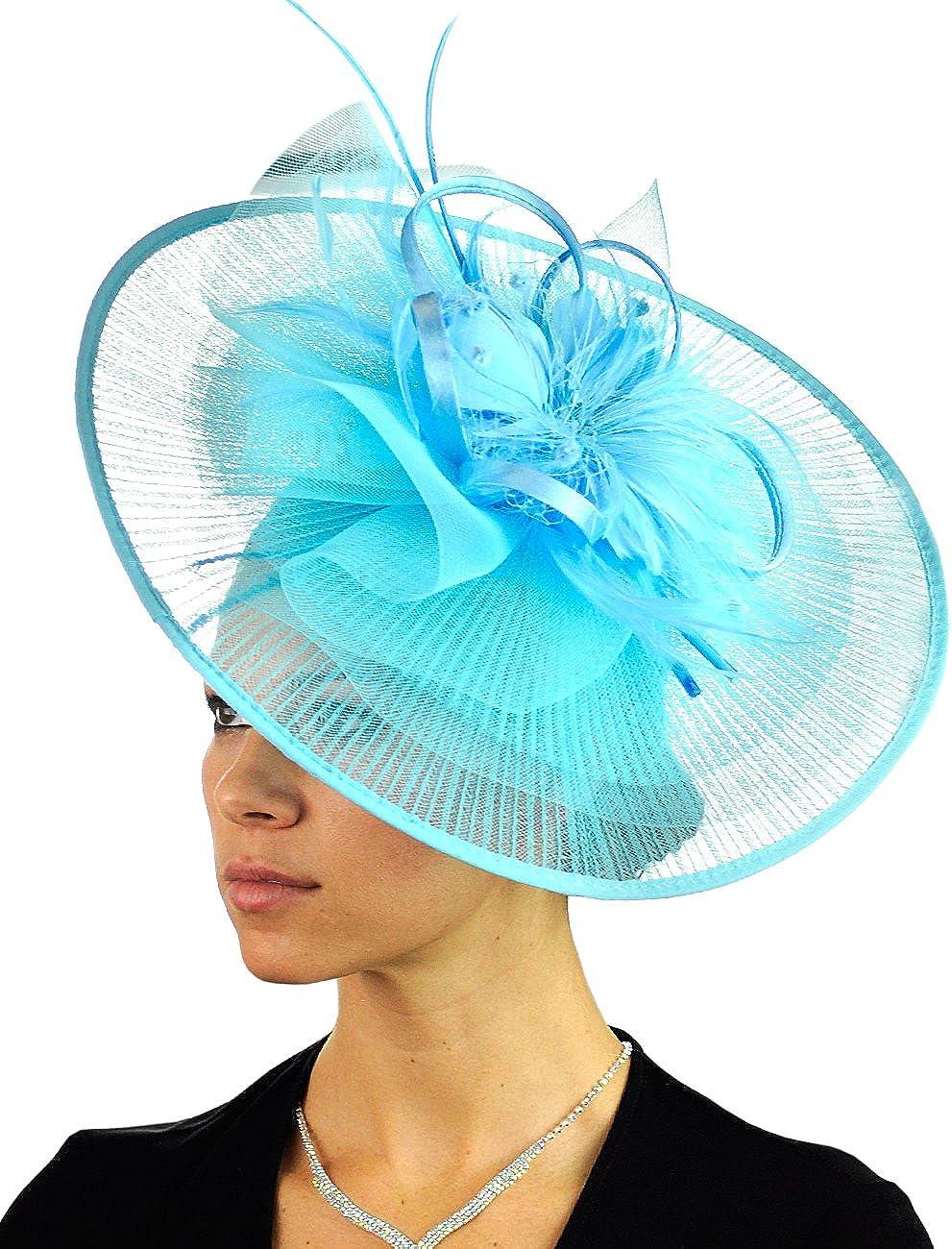 C.C Cocktail Fashion Sinamay Fascinator Hat Feather & Flower Design