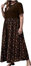 Zomerjurk voor dames, plus size damesmode print jurk O-hals korte mouwen casual losse splicing katoen en linnen lange jurk