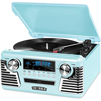 Victrola 50's Retro Bluetooth Record Player & Multimedia Center with Built-in Speakers - 3-Speed Turntable, CD Player, AM/FM Radio | Vinyl to MP3 Recording | Wireless Music Streaming | Teal