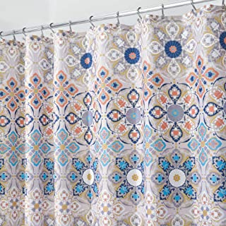 mDesign Decorative Medallion Print, Easy Care Fabric Shower Curtain with Reinforced Buttonholes, for Bathroom Showers, Sta...