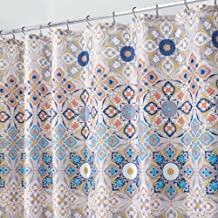 mDesign Decorative Medallion Print, Easy Care Fabric Shower Curtain with Reinforced Buttonholes, for Bathroom Showers, Stalls and Bathtubs, Machine Washable - 72