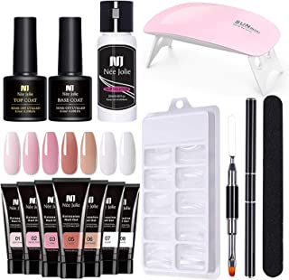 Gel Nail Extension Kit, Free Paper Holder Extension Crystal Gel Kit, with 1 X Nail File, 1 X Brush, 1 X Cleaner, 1 X Base ...