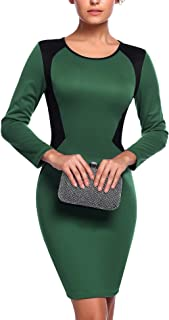 Zeagoo Women's Elegant Colorblock Patchwork Long Sleeve Wear to Work Pencil Sheath Dress
