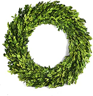 Preserved Boxwood Wreath Year Round Green Wreath Green Garland for Indoor Wall Window Party Decor (16 inch)