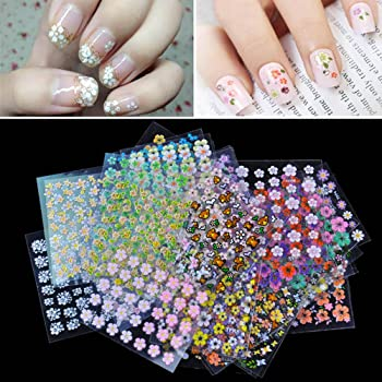 Amazon Com Anself 50 Sheet 3d Mix Color Floral Design Nail Art Stickers Decals Manicure Beautiful Fashion Accessories Decoration Health Personal Care