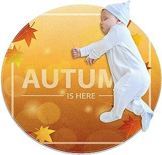 Soft Round Area Rug 70x70cm/27.6x27.6IN Anti-Slip Floor Circle Mats Absorbent Memory Sponge Standing Mat,Hello Autumn