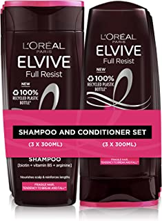 L'Oreal Paris Shampoo and Conditioner Set by Elvive, Full Resist Reinforcing and Anti Breakage for Fragile Hair and Hair F...