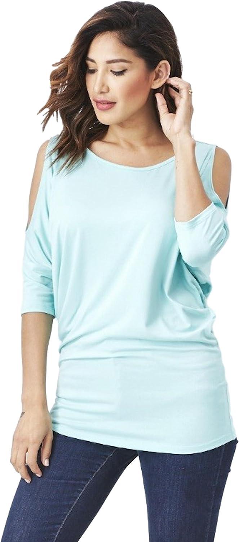 Emmas Closet Women's Cut Out Shoulder Dolman Sleeve Top