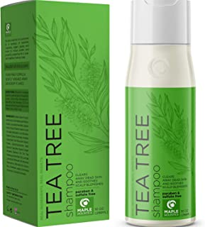 Pure Tea Tree Shampoo for Dandruff and Itchy Scalp - Sulfate Free Deep Cleansing Natural Hair Care for Men and Women - Ess...