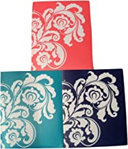 Carolina Pad Studio C Set of 3 Poly Versailles Folders (Red, Teal and Navy with White Floral Scroll)