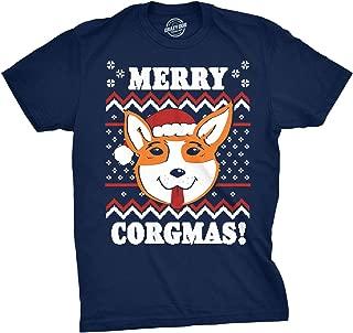 Mens Merry Corgmas Tshirt Corgi Pet Dog Ugly Christmas Sweater Tee