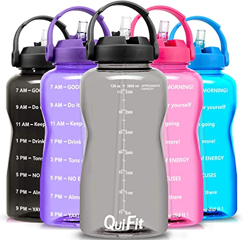 QuiFit Motivational Gallon Water Bottle - with Straw & Time Marker BPA Free 128/64 oz Large Water Jug Leak-Proof Dura...