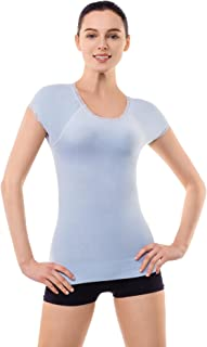 MD Women Chest Compression Shirt Shapewear Tank Round Neck Short Sleeve