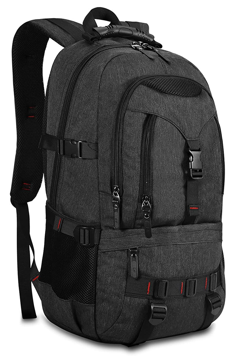 KAKA Large Laptop Backpack, Anti Theft Water Resistant Travel Backpack for Women & Men Fits 17 Inch Laptop and Notebook, Black Daypack for Outdoor Camping