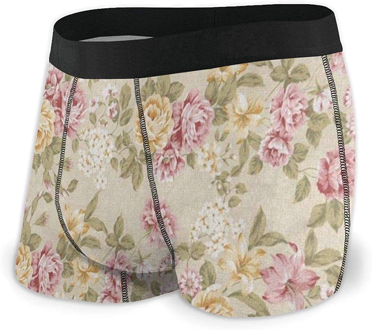 Mens Boxer Briefs Shabby Chic Floral Breathable Underwear
