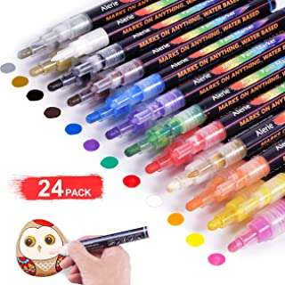 Acrylic Paint Pens - 24 Acrylic Paint Markers for Rock Painting, Stone, Metal, Ceramic, Porcelain, Glass, Wood, Fabric, Canvas, Set of 12 Colors Paint Markers with 3 Different Tip Precision