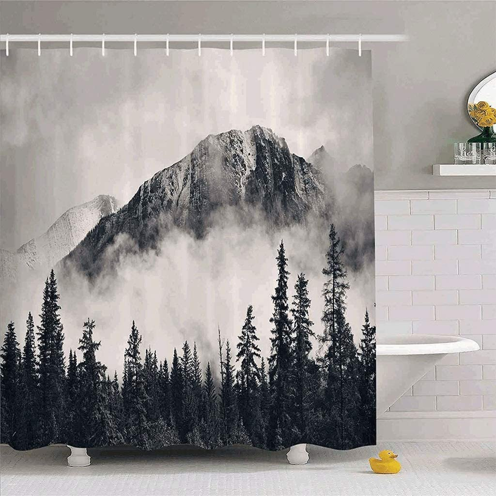 FKSDHDG Mountain Waterproof Shower Curtain low-pricing Theme Ranking TOP8 Scenery Forest