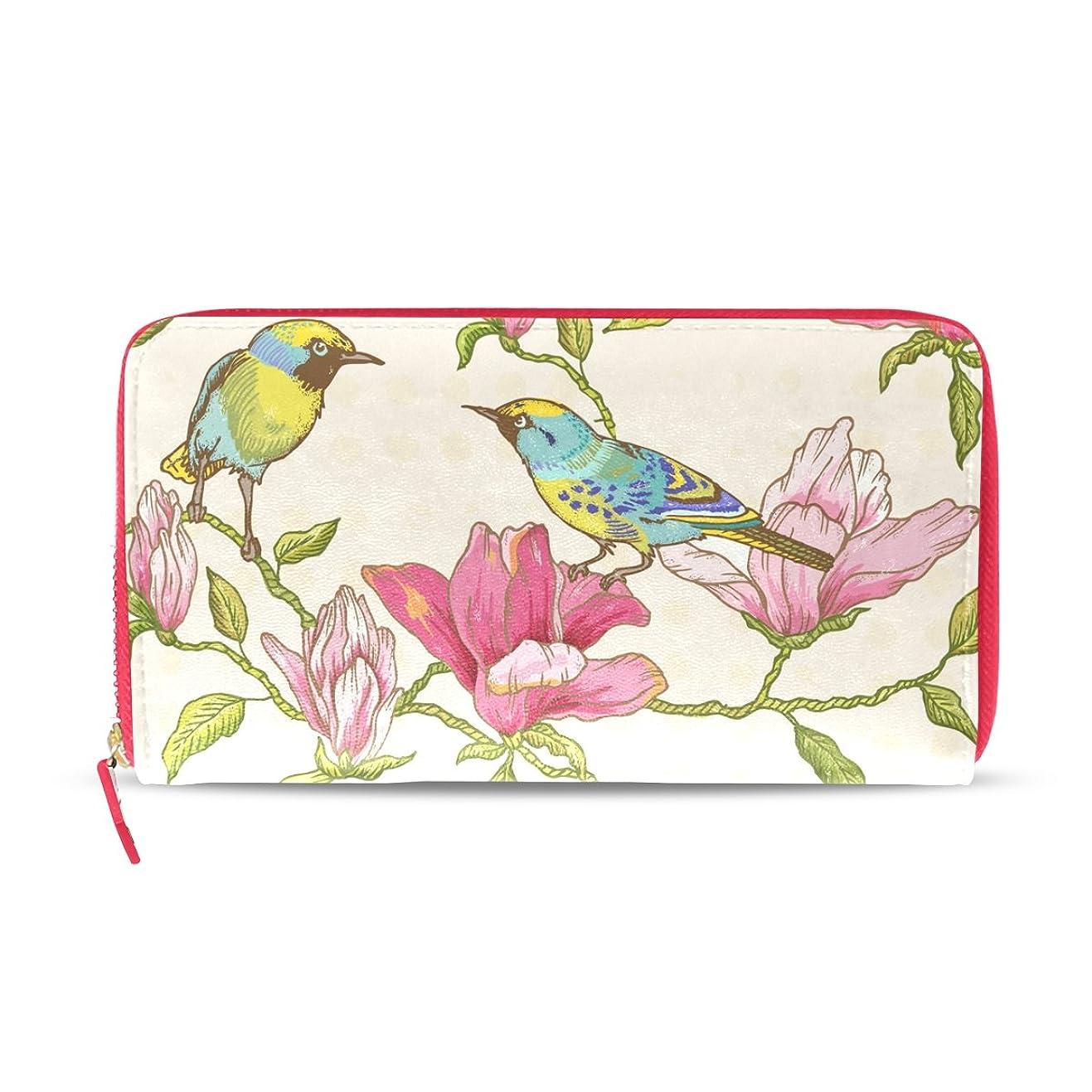 ひばり悔い改め忠実なAOMOKI 財布 レディース 長財布 鳥 花 ピンク カラー ラウンドファスナー PUレザー 大容量 二つ折り 幅20*丈11cm