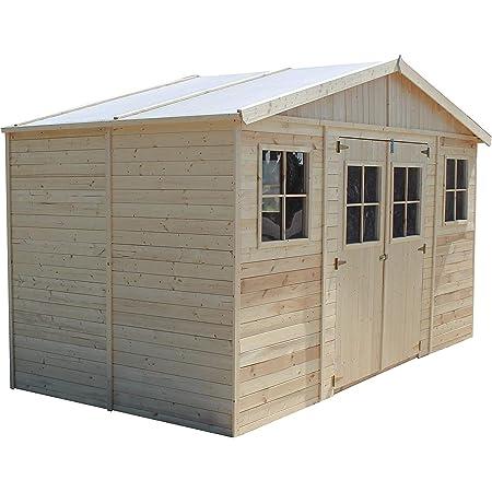 TIMBELA Abri de Jardin en Bois Naturel - Stockage extérieur avec fenêtres- H246x418x220 cm/8 m² Hangar en Bois Naturel - Atelier Rangement Outils et vélos M332