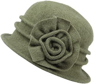 Womens Winter Warm Wool Cloche Bucket Hat Slouch Wrinkled Beanie Cap with Flower