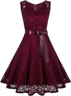 VIJIV Women's Floral Lace Short Bridesmaid Dress Sleevless A-Line Wedding Party Dress V Neck