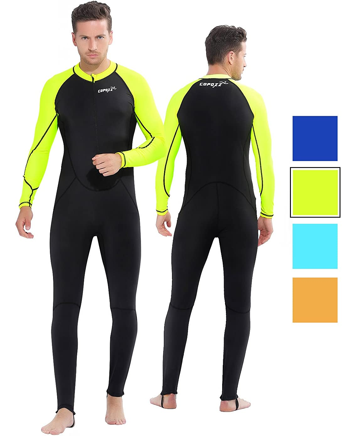 COPOZZ Rash Guard, Full Body Thin Wetsuit, Lycra UV Protection Long Sleeves Dive Skin Suit - for Swimming/Scuba Diving/Snorkeling/Surfing- One Piece for Men Women