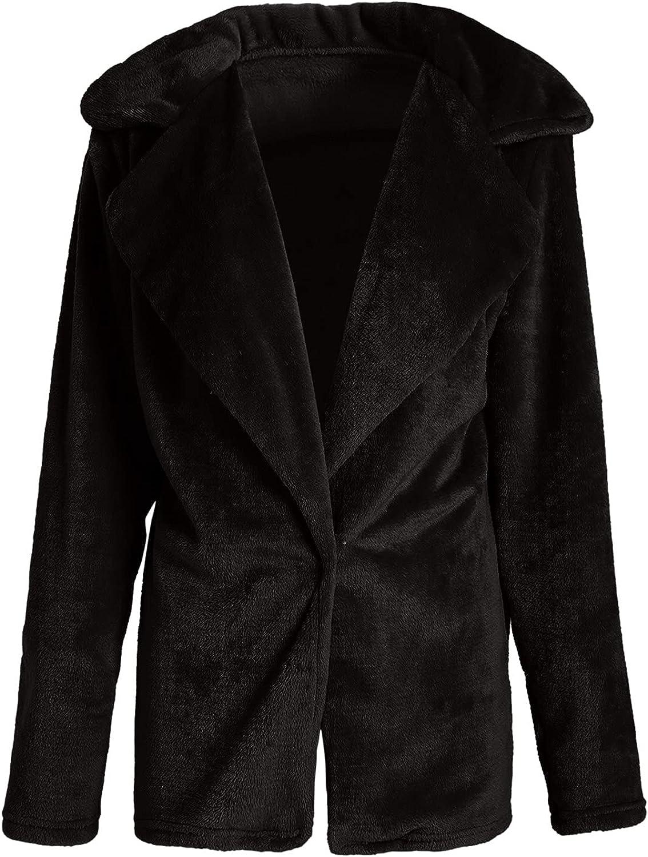 BEUU Women's Coat Casual Lapel Fleece Fuzzy Faux Shearling Zipper Coats Warm Winter Oversized Outwear Bomber Jackets